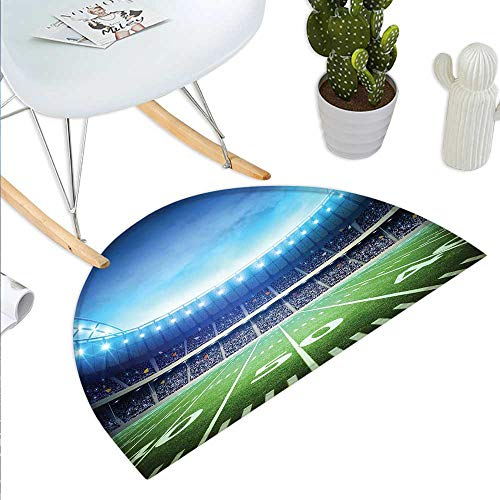 Football Semicircular CushionPhoto of American Stadium Green Grass Arena Playground Bleachers Event Match Entry Door Mat H 19.7