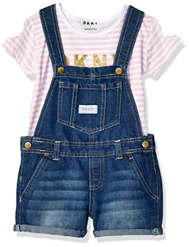 DKNY Girls' Big 2 Piece Fashion Top and Shortall Set, Orchid Pink, 10