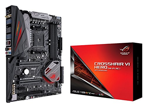 ASUS ROG Crosshair VI Hero (WI-FI AC) AMD Ryzen AM4 DDR4 M.2 USB 3.1 ATX X370 Motherboard with onboard 802.11AC WIFI and AURA Sync RGB Lighting by Asus