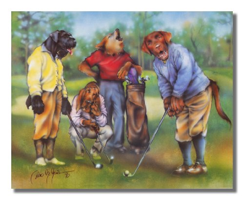 Dogs Playing Golf Kids Room Animal Wall Picture 16x20 Art Print