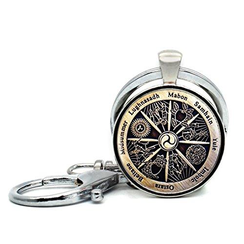 Keychain Round Pendant Zodiac Wicca Pendant Charm Crescent Retro Glass Cabochon Key Rings Stainless Steel Metal Handmade Charm Pendants ()