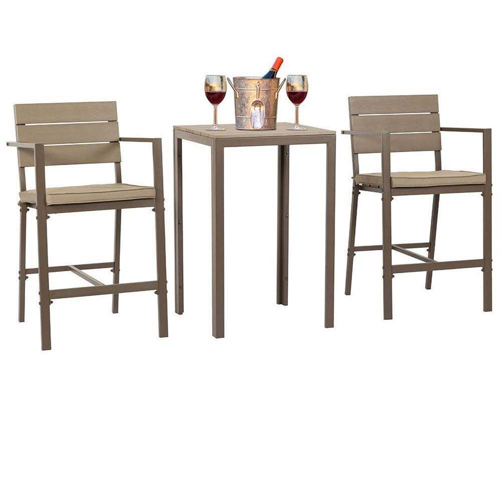 SUNCROWN Outdoor Bar Height Bistro (3-Piece Set) All Weather Steel Powder Coated Frame with Neutral Beige Water-Resistant Cushions Coffee Table | Patio, Backyard, Pool