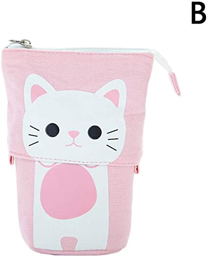 Estuche retráctil para bolígrafos, diseño de gato, color rosa: Amazon.es: Oficina y papelería