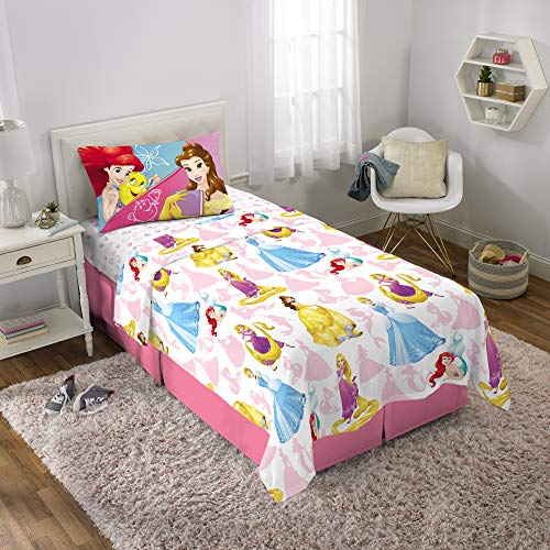 Disney Princess Soft Microfiber Kids Bedding Sheet Set Twin Size 3 Piece Pack White