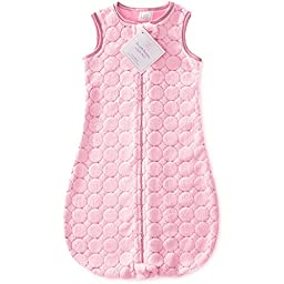 SwaddleDesigns Sleeping Sack with 2-Way Zipper, Cozy Pink Puff Circles, 6-12MO