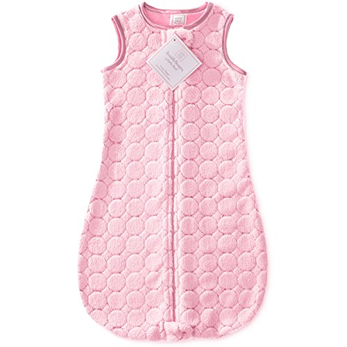 SwaddleDesigns Microfleece Sleeping Sack with 2-Way Zipper, Pink Puff Circles, 6-12MO