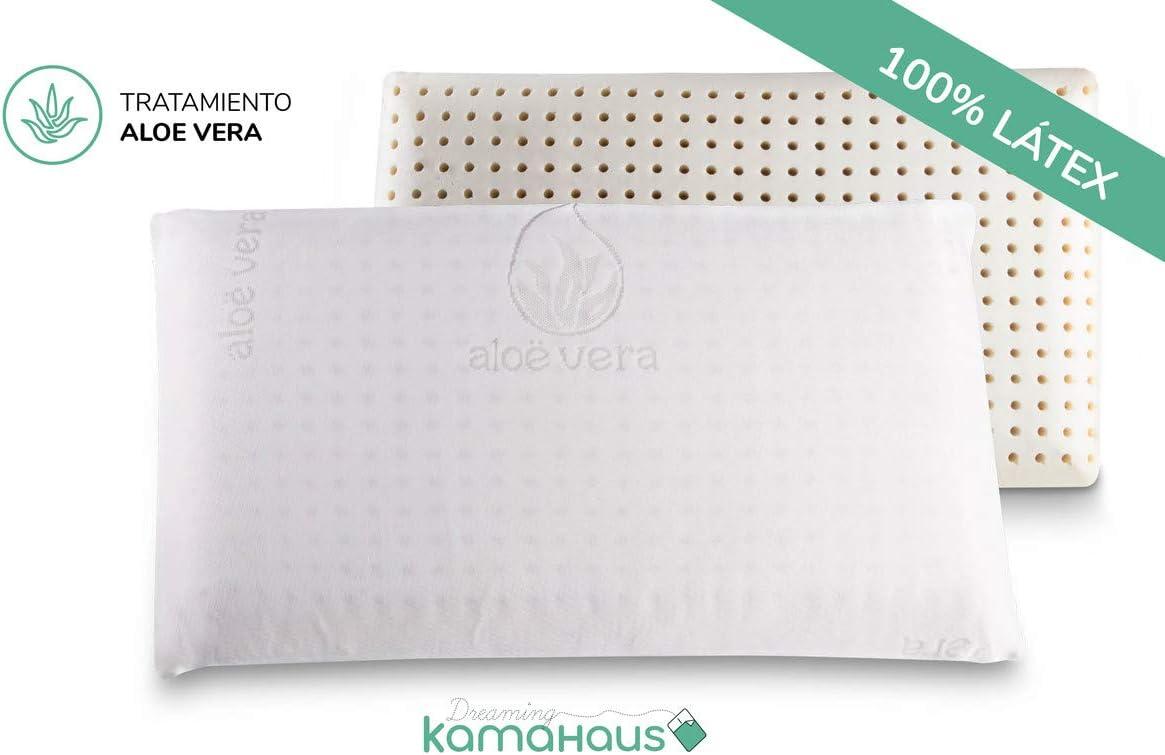 Dreaming Kamahaus Almohada núcleo Látex 75cm | Núcleo 100% LÁTEX | Microperforado | Descanso Natural | Funda Stretch Aloe Vera | Gran Confort |