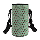 Small Water Bottle Sleeve Neoprene Bottle Cover,Ladybugs,Traditional Polka Dots Background Abstract Cute Ladybug Insects Fun Design,Green Red Black,Great for Stainless Steel and Plastic/Glass Bottles,