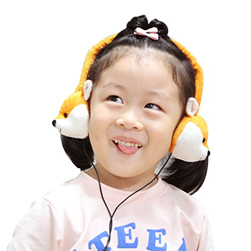 Dairle 3.5 mm Plug Professional Cute Animal Soft Cloth Kids Headphones(No MIC), Baby Music Toy Earmuff with Hearing Protection for 3~16 Years Old Boy and Girl, Volume Limiting in 82DB to Protect Heaering for Kids Over Ear Headphones with Gift Package, Fox