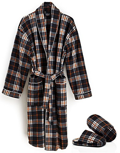 Classic Men's Plaid Print House Robe in 100% Polyester soft fleece (X-Large, Plaid Rust)