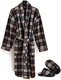 Mens Plaid Print and Solid Colors House Robe in 100% Polyester Soft Fleece