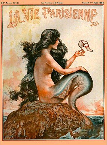 Art Print Poster Paris - A SLICE IN TIME 1920's La Vie Parisienne Mermaid French Nouveau Paris France Europe European Travel Advertisement Art Collectible Wall Decor Poster Print. Poster measures 10 x 13.5 inches