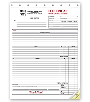 Amazon Com Electrical Forms Invoice Work Orders 3 Part 8 1 2