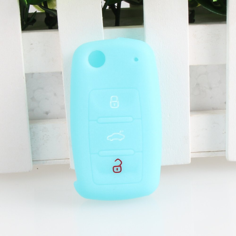 9 MOON Silicone Luminous Remote Flip Key Protecting Key Case Cover Fob Holder 3 Buttons For VW Volkswagen, Blue 4336324165