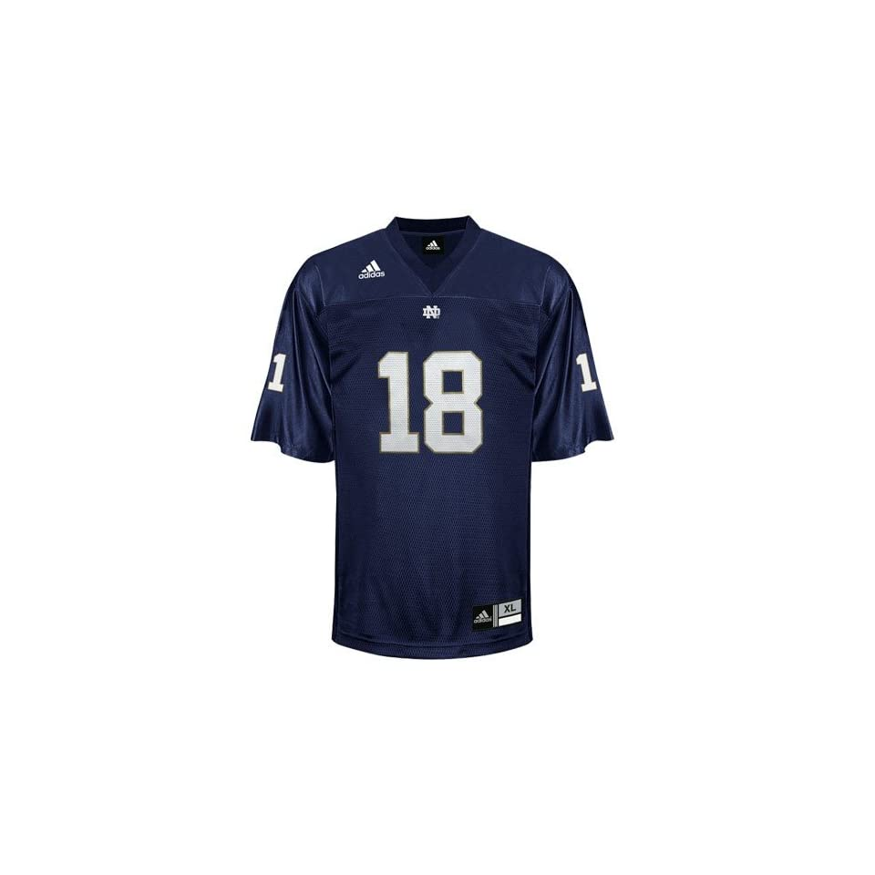 NCAA adidas Notre Dame Fighting Irish #18 Navy Blue Replica Football Jersey