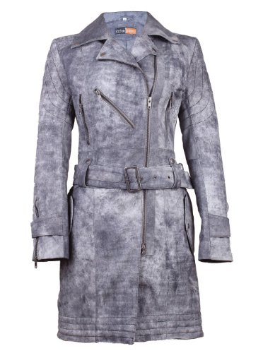 FE Entala Designer Trench Coat Womens | Stylish Long Ladies Leather Jacket | Distressed & Vintage Look