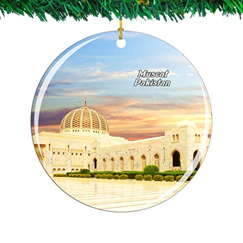 Weekino Grand Mosque Muscat Oman Christmas Ornament City Travel Souvenir Collection Double Sided Porcelain 2.85 Inch Hanging Tree Decoration
