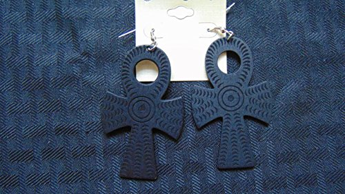 Gye Nyame Ring (New Egyptian Ankh Symbol of Life & Eternity Fashion Wooden Earrings Black)