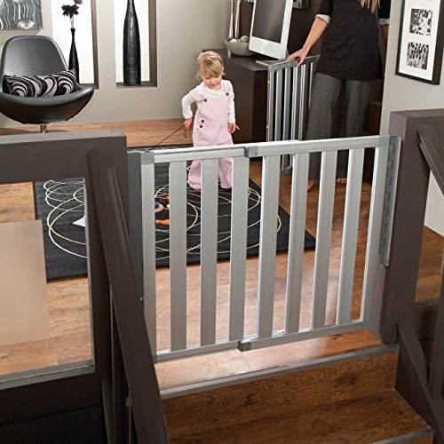 Munchkin Loft Aluminum Hardware Mount Baby Gate for Stairs, Hallways and Doors, Extends 26.5- 40 Wide, Silver, Model MK0012