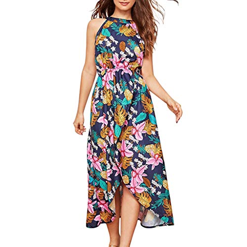 Women Dresses for Party Halter Neck Sleeveless Midi Dress Hawaii Floral Empire Waist Irregular Hem Maxi Dress ()