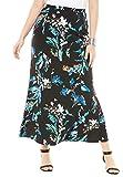 Jessica London Women's Plus Size Maxi Skirt Black Ground Garden Party,22/24