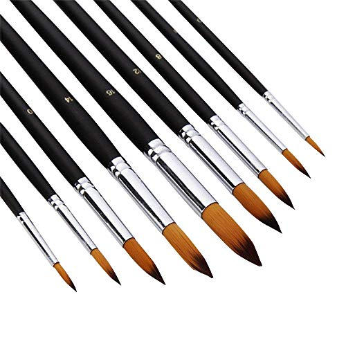 AOOK Artist Paint Brushes Superior Hair Artists Flat Round Point Tip Paint Brush Set for Watercolor Acrylic Oil Painting Supplies (9 Round Point)