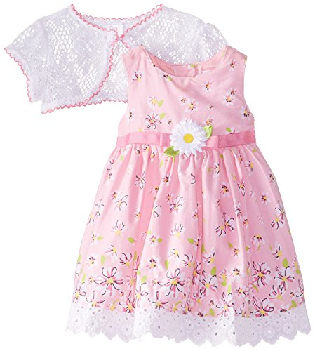 [Youngland Baby Girls' Floral Print Dress with Lace Shrug, Pink/White, 18 Months] (Baby Easter Dresses)