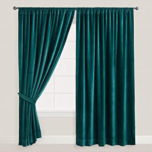 Teal Thick Velvet Curtains Absolute Blackout 52 W By 96 H L 2 Panel Lined