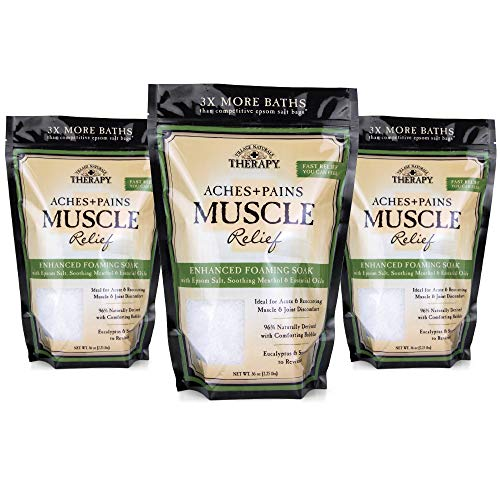 Village Naturals Therapy, Foaming Epsom Soak, Aches & Pains Muscle Relief, 36 oz, Pack of 3, Green