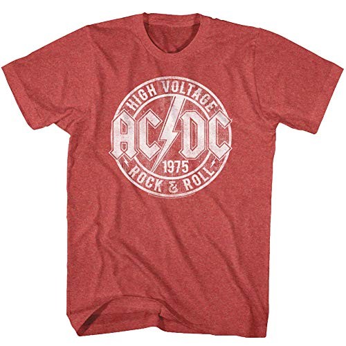 ACDC Heavy Metal Rock Band High Voltage Rock & Roll Adult T-Shirt Tee Red
