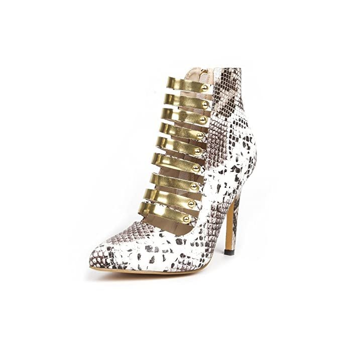 Vivioo Prom Sandals Shoes fashion Novelty silver Snake Pu gold Trim 11 Cm High-heeled Shoes pointed Toe Pumps size 34-45 multi 6 5