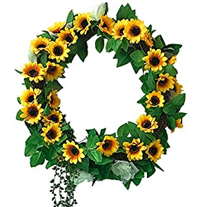 "Fycooler Sunflowers Wreaths Roses Vines Dry Branch DIY Wreath 17"" Garland with Artificial Succulent Décor for Hanging Front Door/Wall /Gift/Wedding /Party Decor Yellow Artificial Flowers Decoration 35"