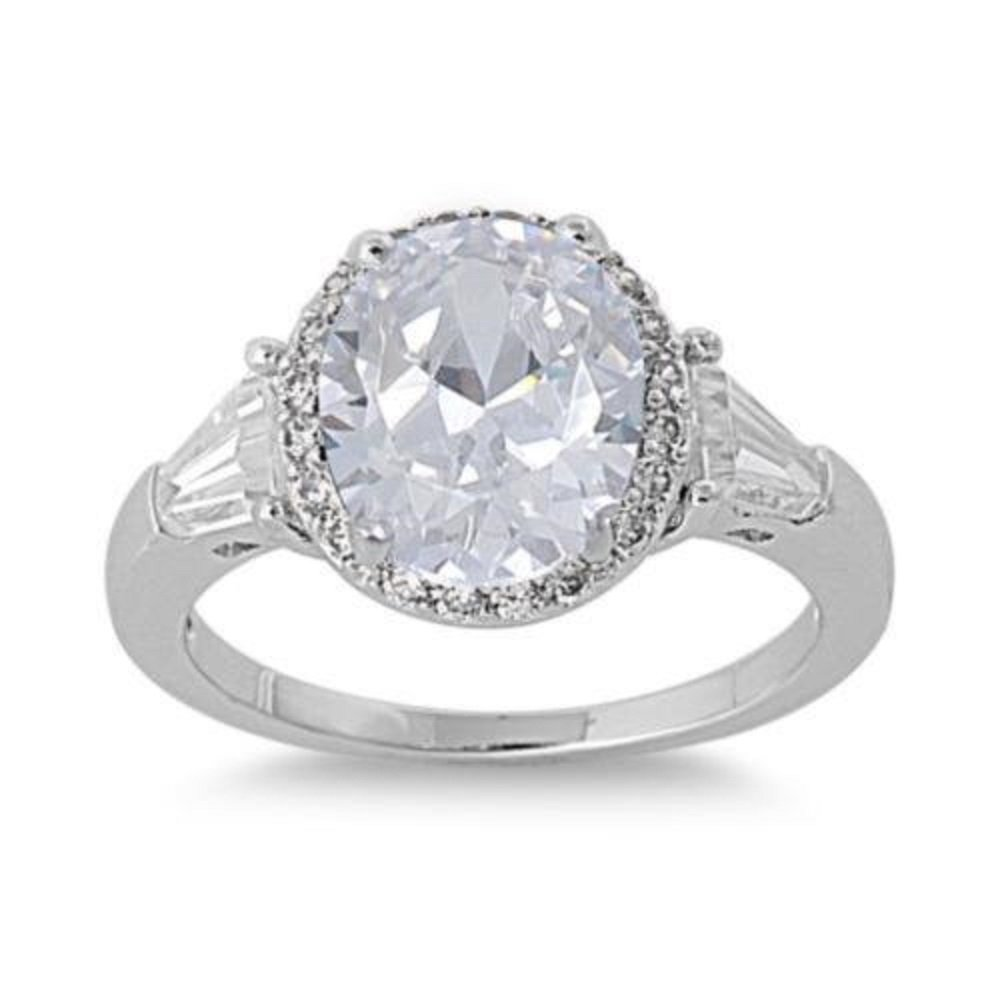 CloseoutWarehouse Cubic Zirconia Accented Prong Ring Sterling Silver Size 10