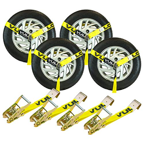 VULCAN Lasso Style Auto Tie Down with Flat Hooks - 2 Inch x 96 Inch, 4 Pack - Classic Yellow - 3,300 Pound Safe Working Load