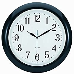 Tempus® TC6083B Atomic Wall Clock with Frame Translucent Dial Face and Radio Controlled Movement, 14, Black