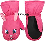 MoKo Ski Gloves for Kids, Winter Windproof Gloves Cute Rabbit Waterproof Cold Weather Gloves Warm Thermal Glov