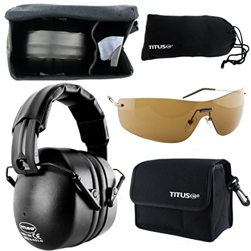 TITUS Earmuff/Glasses Combo – Onyx Black (37NRR) Muffs & G Series Safety Glasses - Ear+Eye Protection Bundle (EarMuffs, Glasses, and Carrying Case) - Personal Safety, Shooting Gear, Portable Pouches
