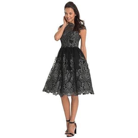 LMMVP Vestido de Mujer Señoras Sexy Cordón Bordado Paseo Formal Dama de Honor Boda Princesa Elegante