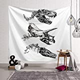 Handser Wall Hanging Black and White Tapestry Dinosaur Skull Abstract Painting Wall Tapestry Home Decor for Living Room Bedroom Dorm Room 90x60inch
