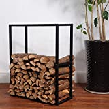 Black Metal Powder Coated Finish Fire Wood Holder Rack / Indoor & Outdoor Fireplace Log Bin - MyGift