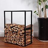 firewood storage box - Black Metal Powder Coated Finish Fire Wood Holder Rack / Indoor & Outdoor Fireplace Log Bin - MyGift
