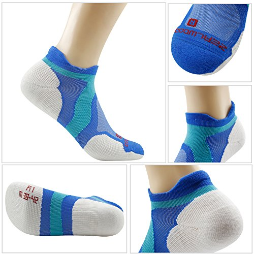Merino Wool Tab Ankle Running Socks, ZEALWOOD Unisex Performance No-Show Athletic Quarter Sock, Gym Socks, Light Weight Socks,Dry Hiking/Outdoor Socks-Blue/White,Small by ZEALWOOD (Image #4)