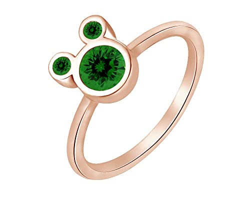 Wishrocks 925 Sterling Silver Simulated Emerald Mickey Mouse Ring Party Jewelry for Women /& Girl