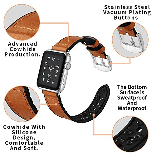 Sweatproof Hybrid Leather Sports Watch Band Vintage Replacement Bands for Apple Watch iwatch Series 123 Dark Brown Replacement Straps with Sliver Stainless Steel Buckle Clasp (42mm, Brown) by WTHSTRAP (Image #2)