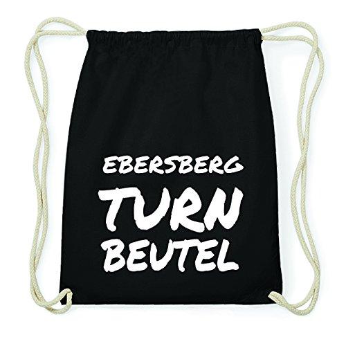 JOllify EBERSBERG Hipster Turnbeutel Tasche Rucksack aus Baumwolle - Farbe: schwarz Design: Turnbeutel