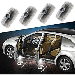 Aukur Easy Installation Infiniti Car LED Door Logo Projector Ghost Shadow Lights, Wireless No Drill Type Led Courtesy Step Lights, CAN-bus No Error 4-pc Set