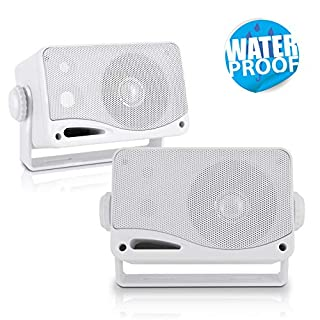 Pyle PLMR24 3.5-Inch 200 Watt 3-Way Weather Proof Mini Box Speaker System (White) (B001CXXDBM) | Amazon Products