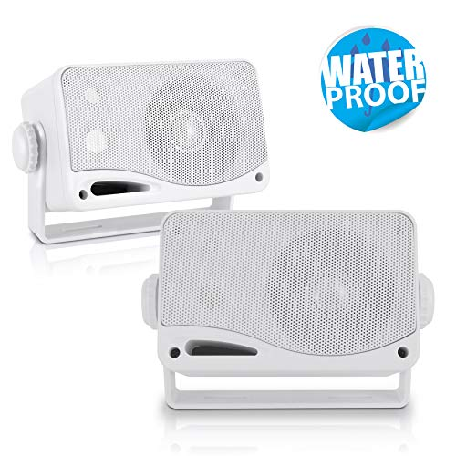 3-Way Weatherproof Outdoor Speaker Set - 3.5 Inch 200W Pair of Marine Grade Mount Speakers - in a...