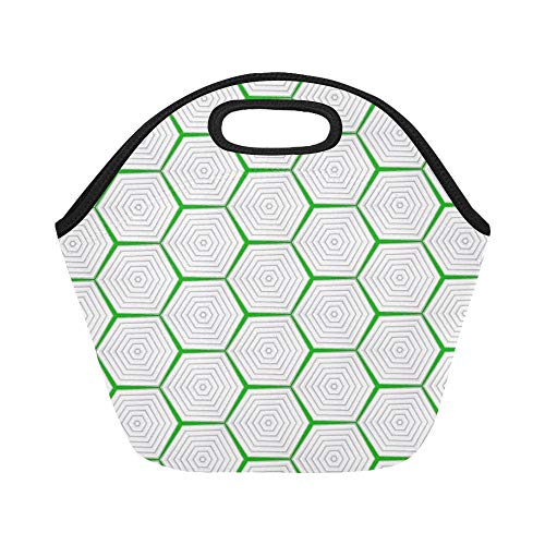 Insulated Neoprene Lunch Bag Geometric Beehive Pattern Green White Large Size Reusable Thermal Thick Lunch Tote Bags For Lunch Boxes For Outdoors,work, Office, School