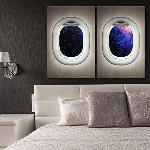 wall26 – 2 Panel Canvas Wall Art – Galaxy Window View Canvas – Giclee Print Gallery Wrap Modern Home Decor Ready to Hang – 24 x36 x 2 Panels
